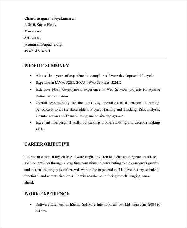 freelancer profile summary sample