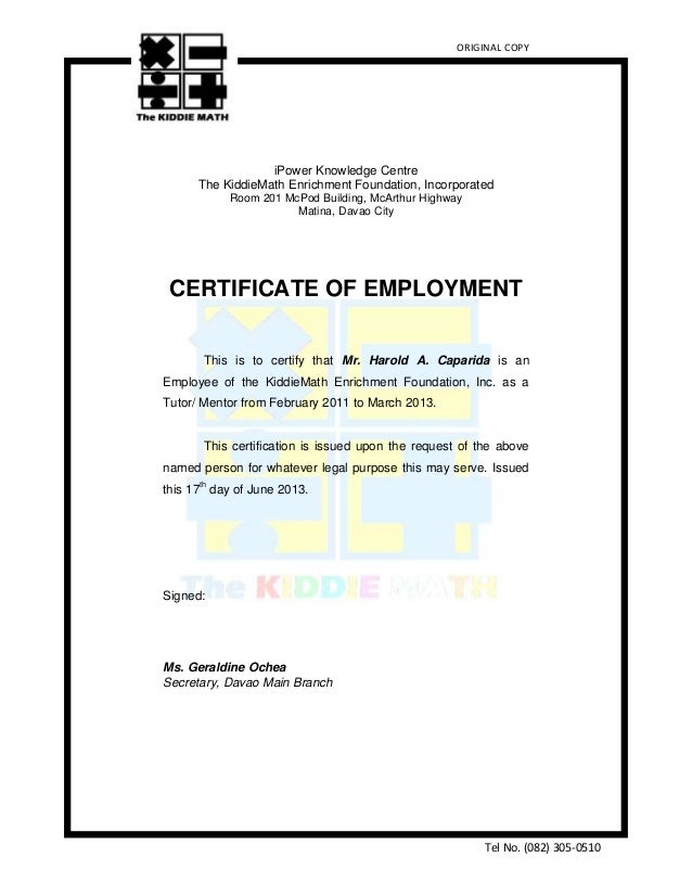 japanese certificate of employment sample
