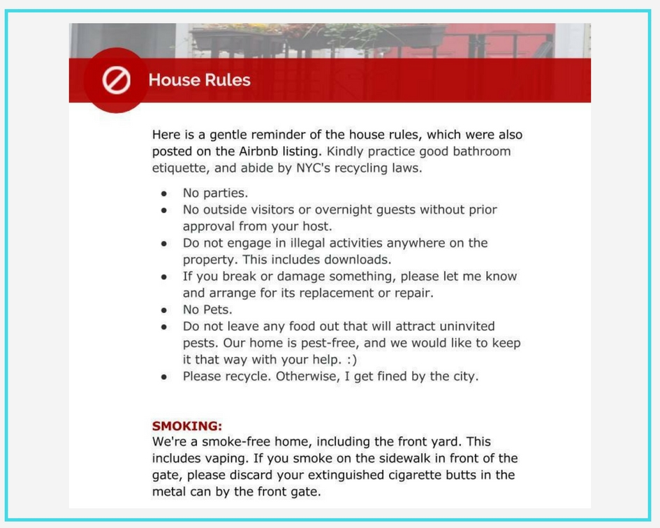 house rules airbnb sample