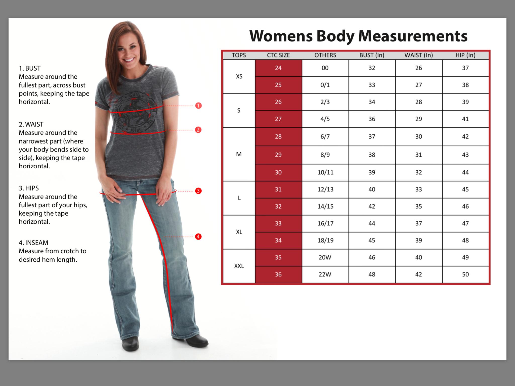 joni jeans size guide