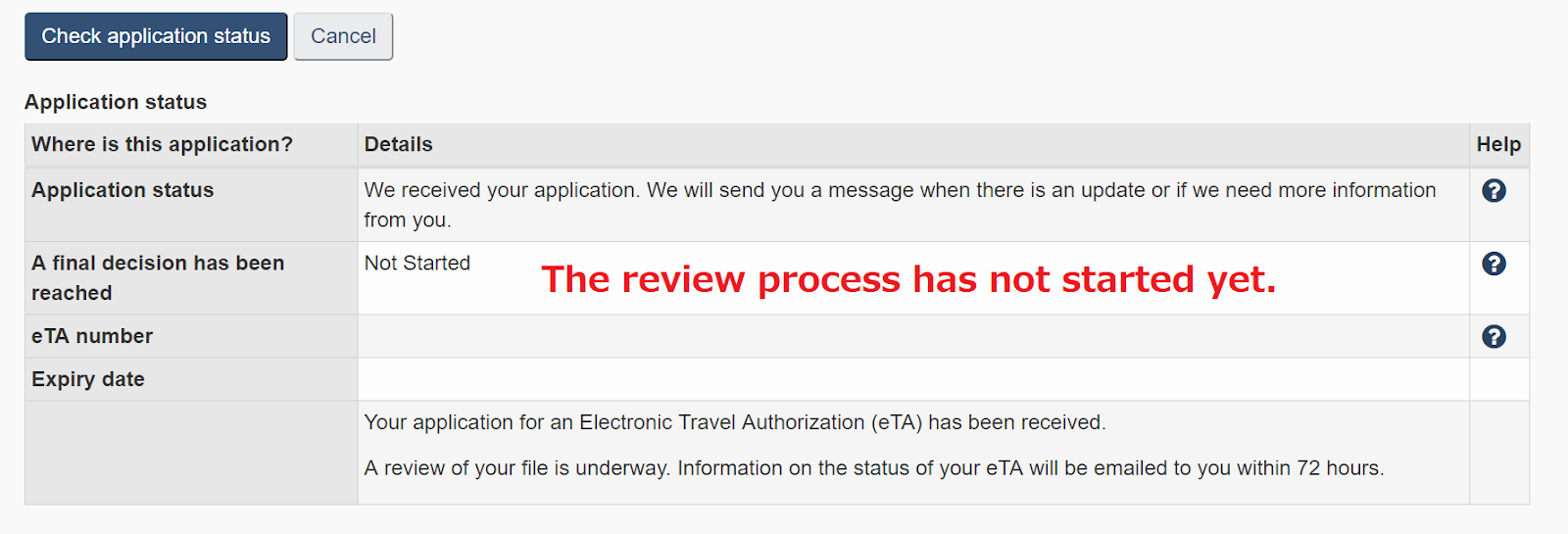 eta check application status australia