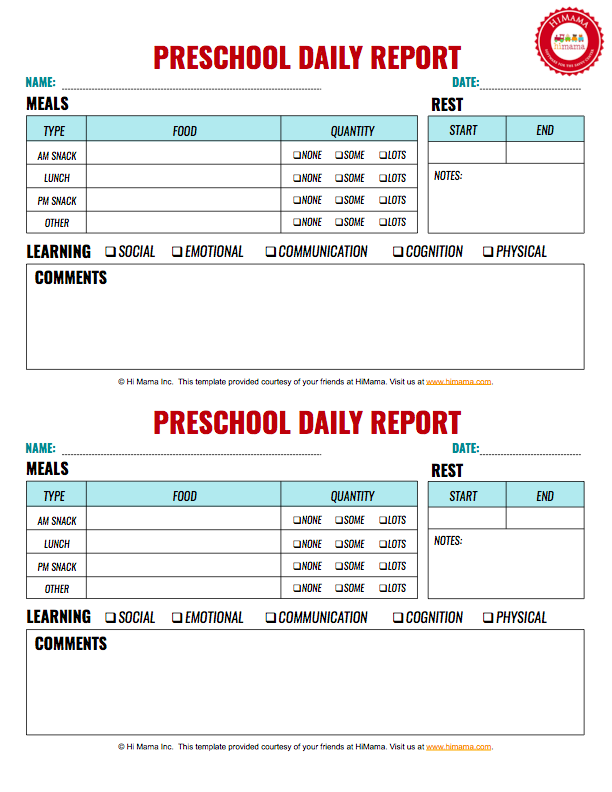 infant daily report pdf