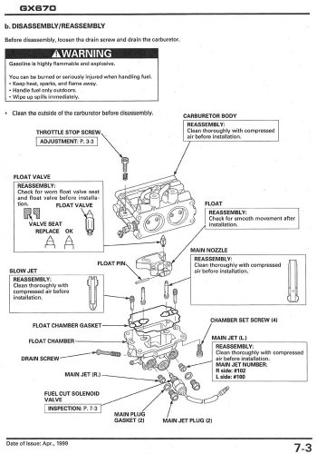 honda gx670 carburetor manual