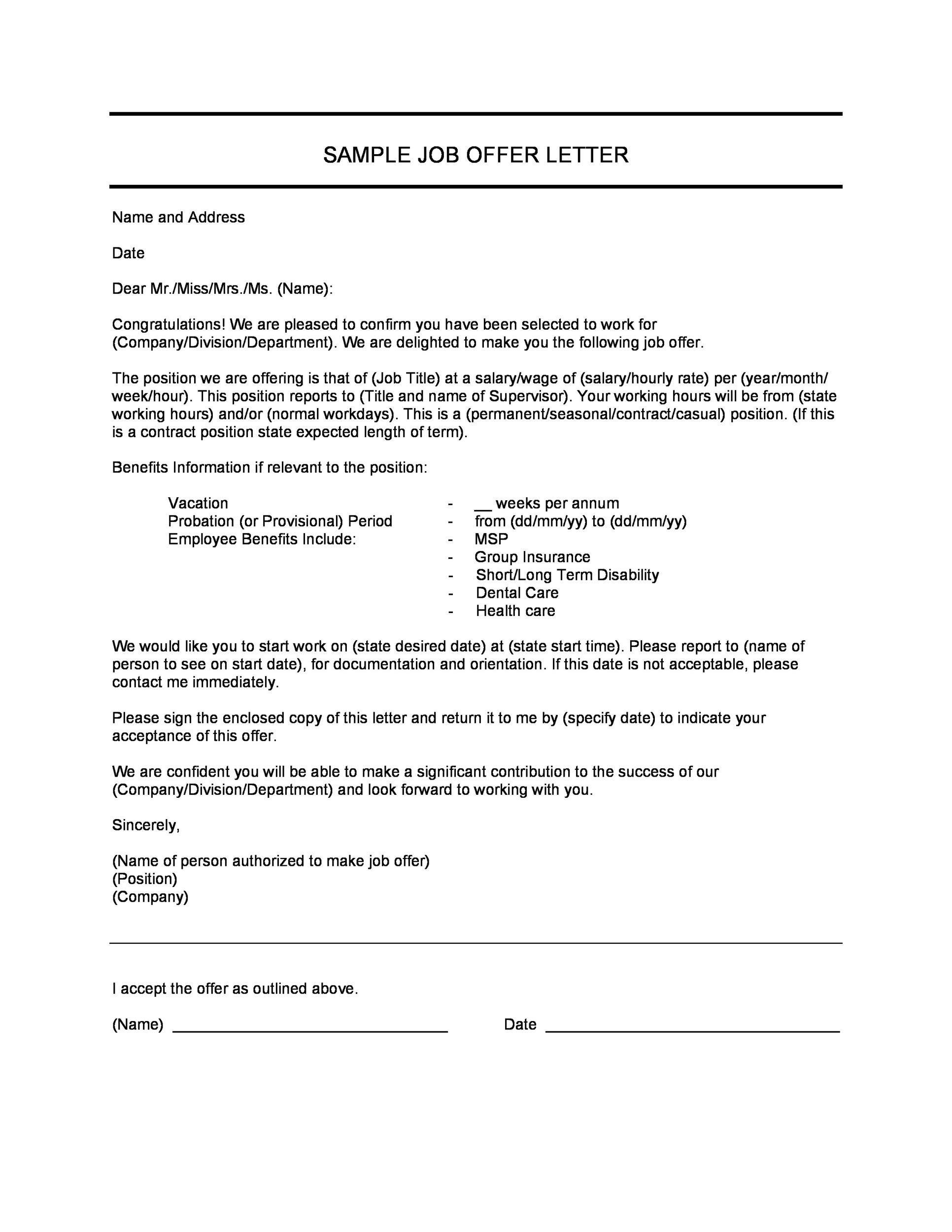 employment offer letter sample