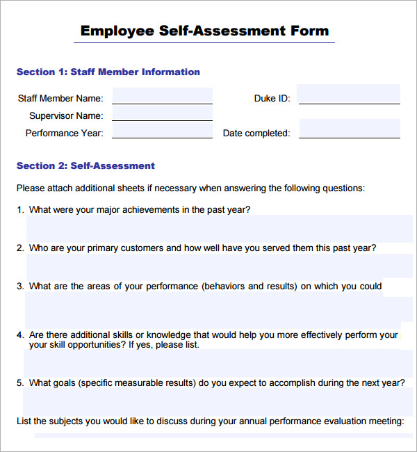 employee self evaluation sample answers