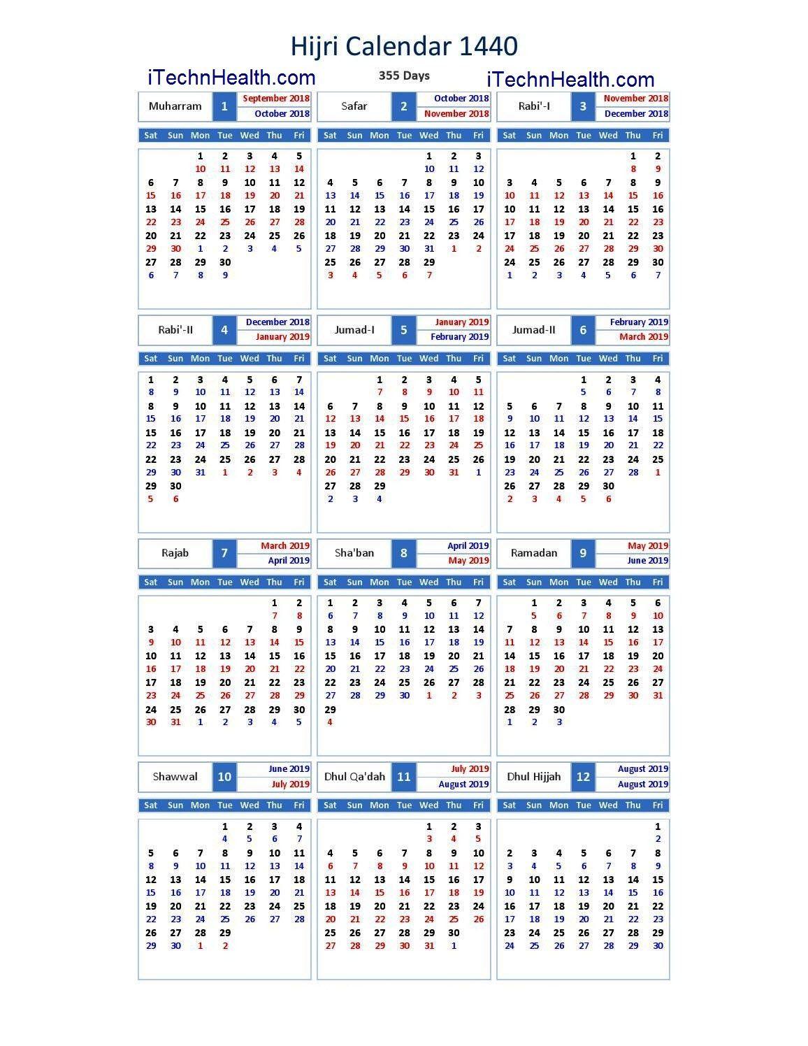 islamic calendar 2019 pdf