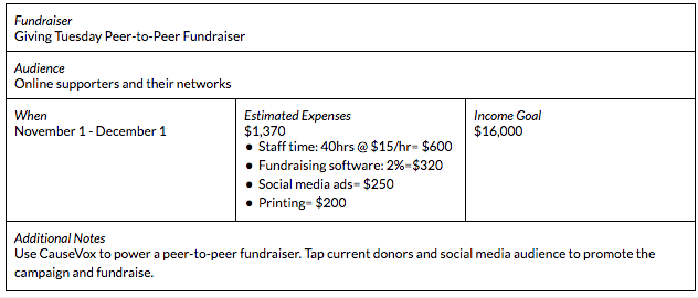 fundraising strategy sample