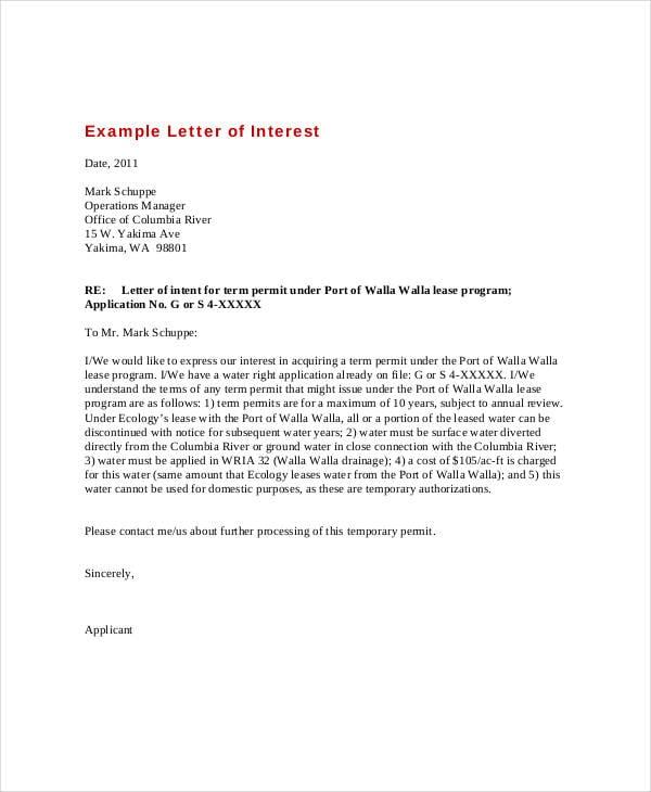 expression of interest letter sample