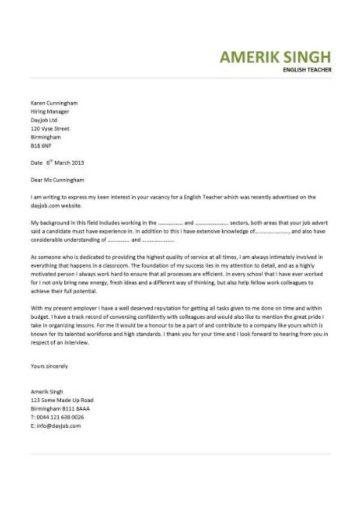 esl cover letter sample
