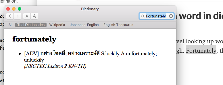 enable dictionary look up mac