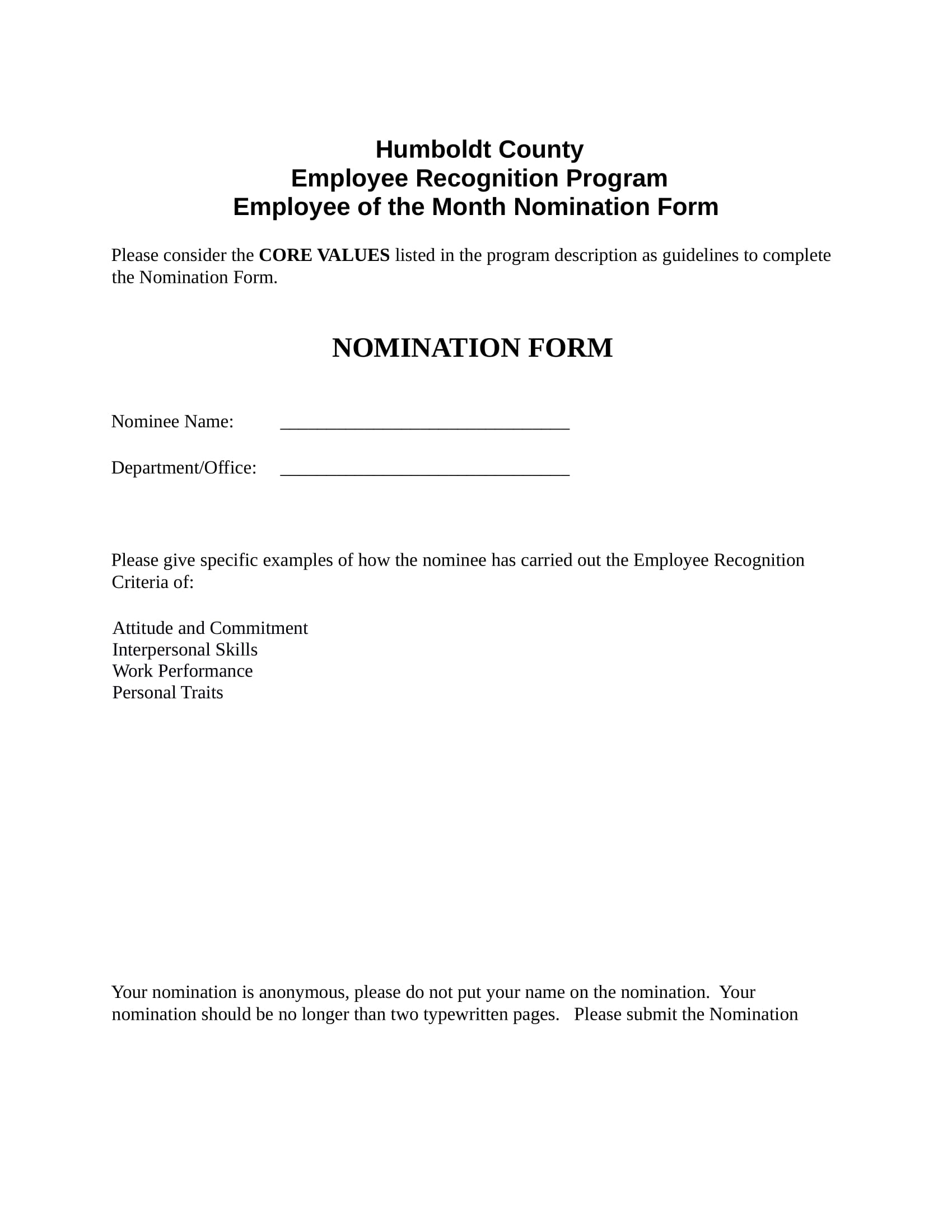 employee nomination sample