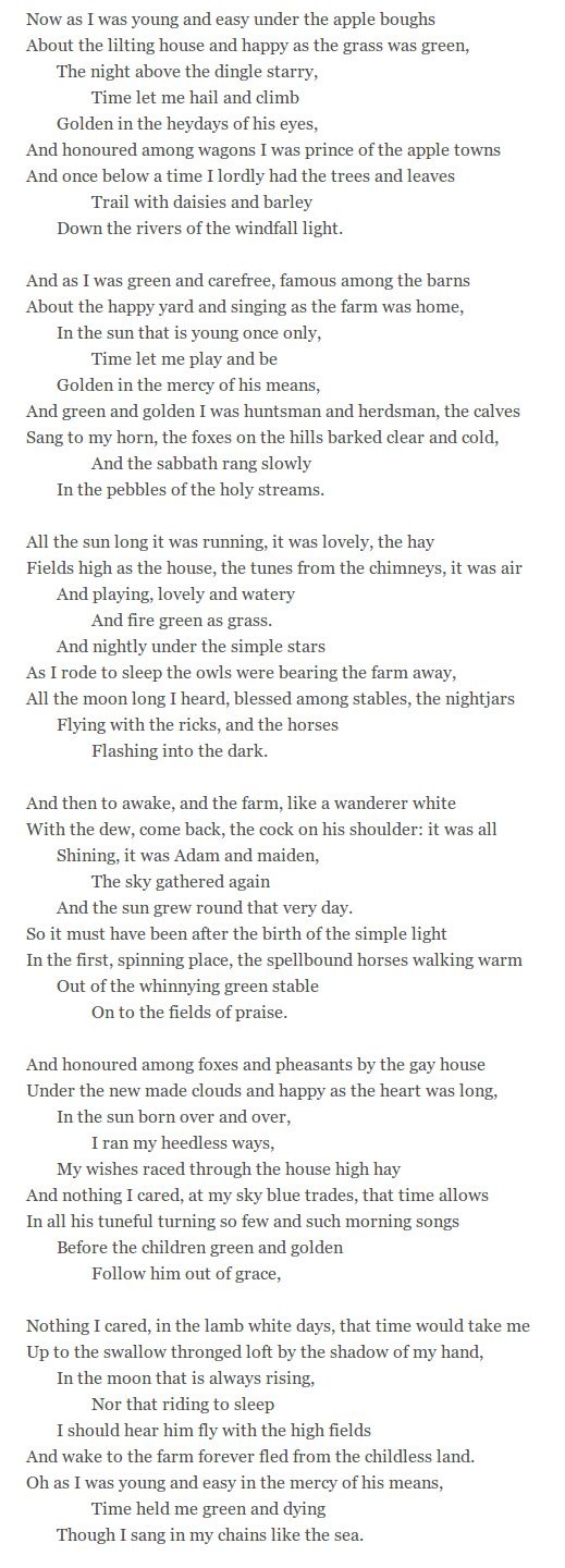 fern hill by dylan thomas poem pdf