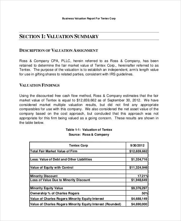 industrial valuation report sample