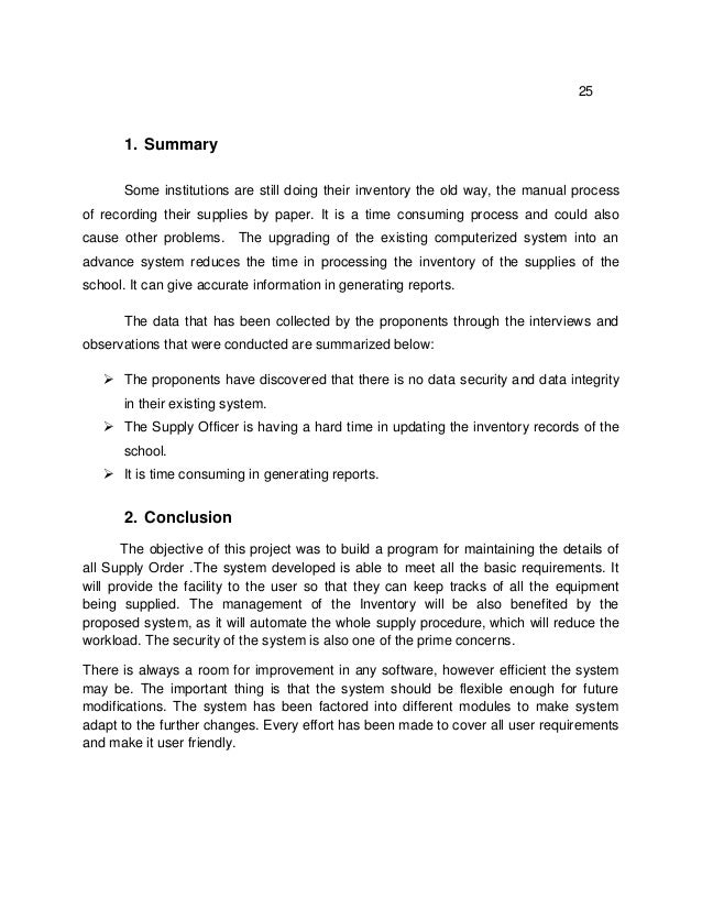inventory system sample thesis